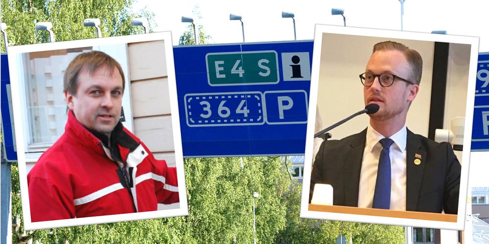 Löwenhöök (M) angriper Burman (S) om E4-förbifarten i Skellefteå